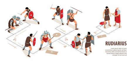 Isometric ancient rome gladiators infographics with editable text and flowchart with human characters of rudiarius warriors vector illustration