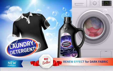 Realistic horizontal laundry detergent banner with renew effect for dark fabric description vector illustration Vettoriali