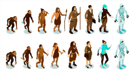 Isometric human evolution set with isolated characters of ancient men and modern people evolving into robots vector illustration