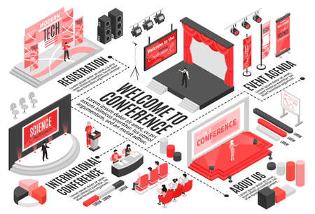 Isometric conference hall horizontal flowchart composition with text captions graph elements stages seats and visitor characters vector illustration Vector Illustration
