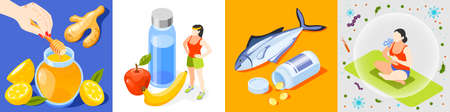 Strengthening immunity isometric icon set with honey and citruses sport and healthy food fish and vitamins yoga and correct breathing vector illustration