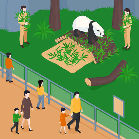 Isometric zoo composition with view of panda park with bamboo leaves workers and visitors behind barrier vector illustration