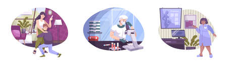 In vitro fertilization set of flat compositions with characters of gynecologist doctor laboratory scientist and parents vector illustration 向量圖像