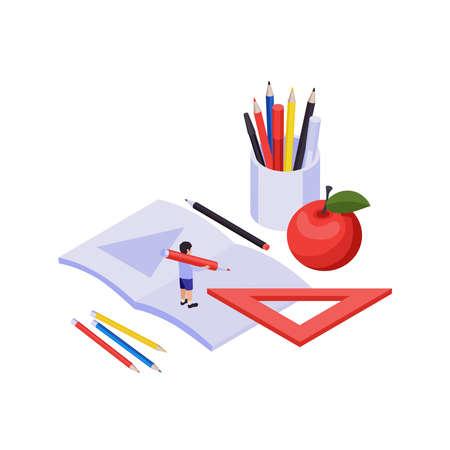 STEM education isometric science and knowledge symbols vector illustration Vektoros illusztráció