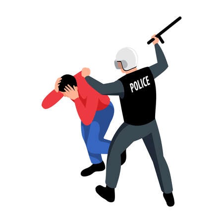 Policeman beating arrested man with baton 3d isometric icon vector illustration