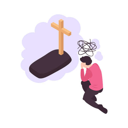 Panic attack 3d isometric concept with depressed man and grave vector illustration Векторная Иллюстрация