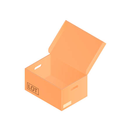Isometric cardboard box composition with medium sized cardboard box with opened lid vector illustration