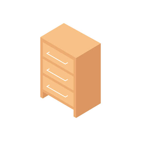 Isometric wooden furniture composition with isolated image of cabinet vector illustration