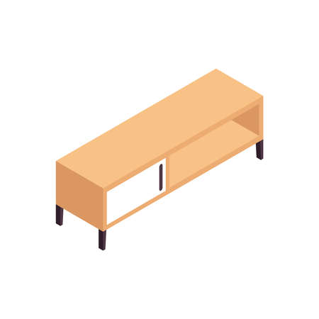 Isometric wooden furniture composition with wide cabinet stand on blank background vector illustration