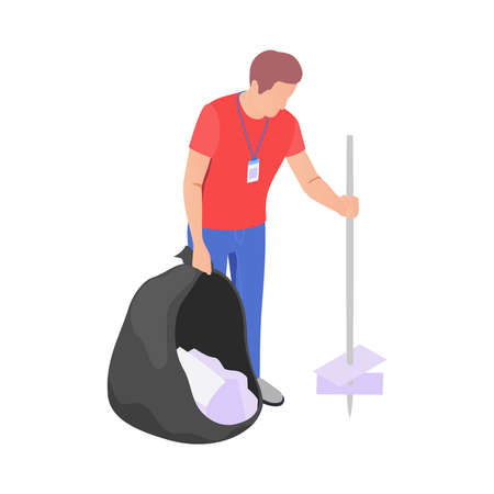 Cleaning with donation and volunteering symbols isometric isolated vector illustration 矢量图像