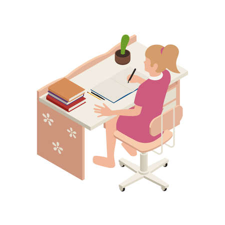 Homeschooling isometric with student at online lessons 3d vector illustration