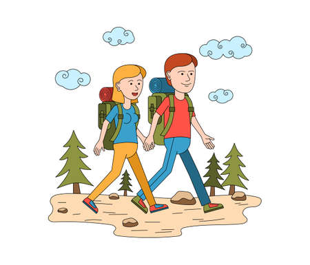 Travel vacation composition with characters of loving couple walking in the wild vector illustration