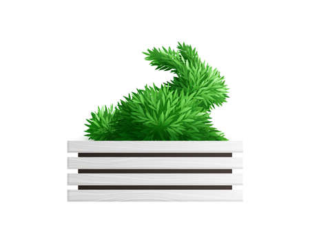 Realistic creative green bush in shape of rabbit vector illustration