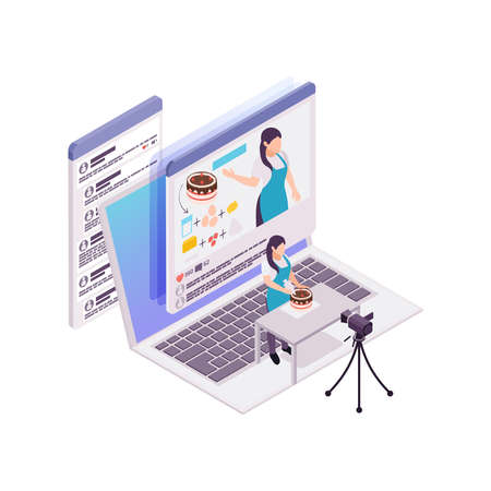 Culinary vlogging isometric concept with computer camera woman and cake 3d vector illustration
