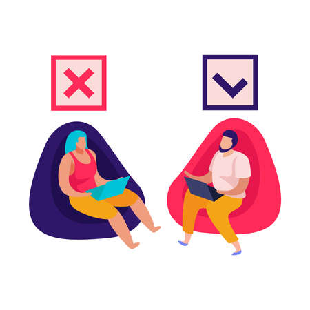 Discrimination flat composition with man and woman sitting on soft chairs with approval icons vector illustration