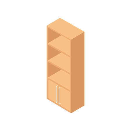 Isometric wooden furniture composition with cabinet on blank background vector illustration