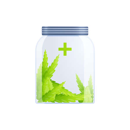 Medical marijuana cannabis drugs flat composition of hemp leaves inside closed glass can vector illustration