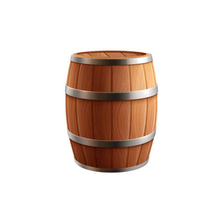 Beer barrel realistic composition with isolated image of wooden beer keg vector illustration