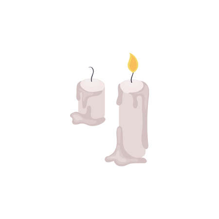 Isometric halloween party composition with vintage style candles on blank background vector illustration