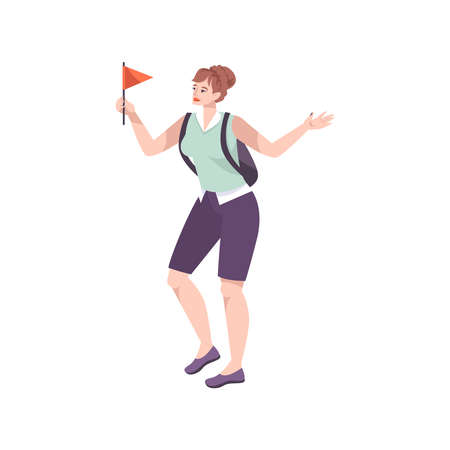 Excursion flat composition with female character of group guide holding red flag vector illustration