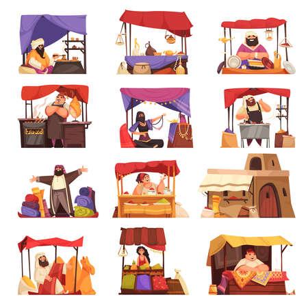 Eastern Market Cartoon Icons Set