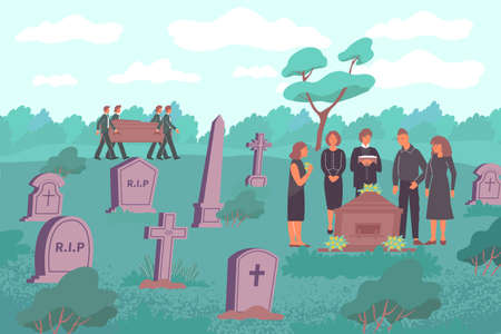 Cemetery Funeral Flat Composition