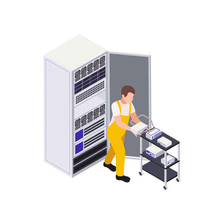 Changing Servers Isometric Composition illustration