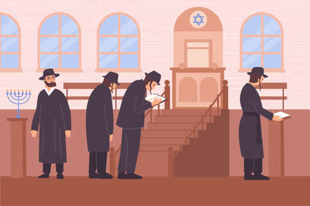 People in black of Judaism Religion illustration