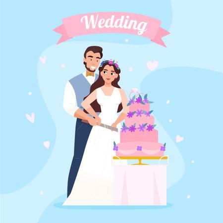 Wedding Cake Couple Image illustration