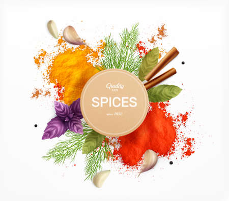 Spices And Herbs Realistic Emblem illustration