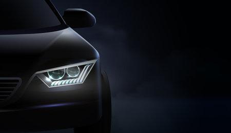 Realistic Car Headlights Ad Composition Vektorgrafik