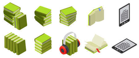 Books Isometric Icon Set