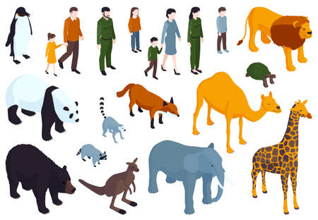 Isometric Zoo Icon Set Ilustração