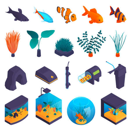 Aquarium Isometric Set Иллюстрация