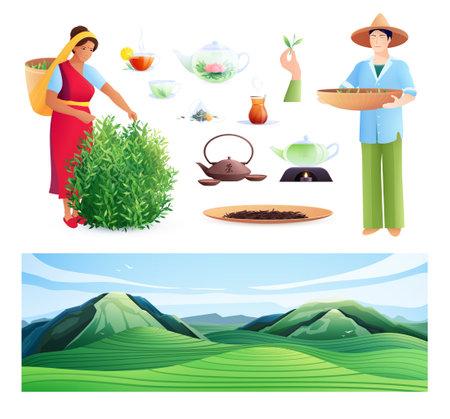 Natural Tea Production Flat Set