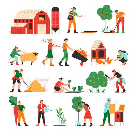 Farm Works Icon Set Ilustración de vector