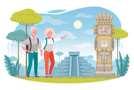 Senior Elderly People Travel Cartoon
