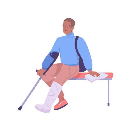 Patient In Gypsum Composition Ilustracja