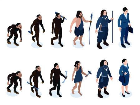 Isometric Human Evolution Set illustration