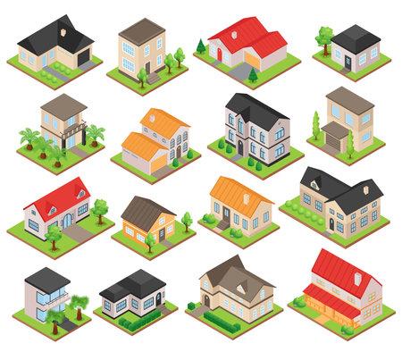 Isometric Private House Set illustration