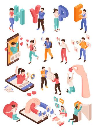 Hype And Social Media Set illustration Ilustração