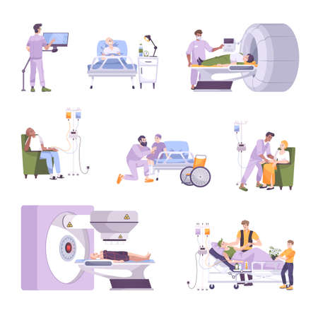 Oncology Flat Set illustration 向量圖像