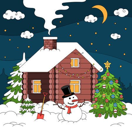 Winter House Christmas Composition illustration Ilustracja