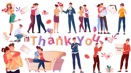 International Thank You Day Flat Set illustration