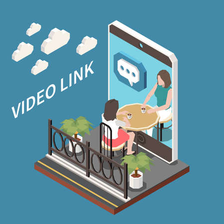 Video Link Isometric  illustration