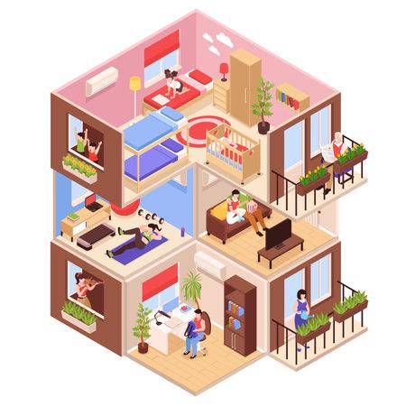 House Neighbors Isometric illustration