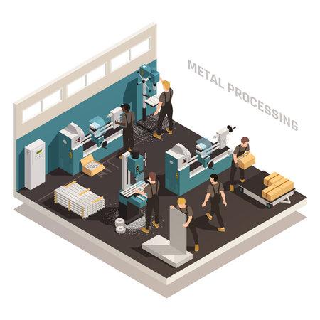Metalworking People Isometric Composition illustration