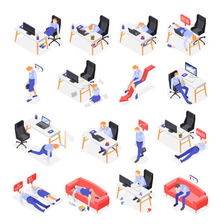 Burn-out Syndrome Isometric Icons Set