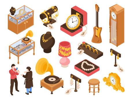 Pawn Shop Isometric Set illustration