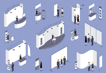 Expo Stand With People Isometric Set